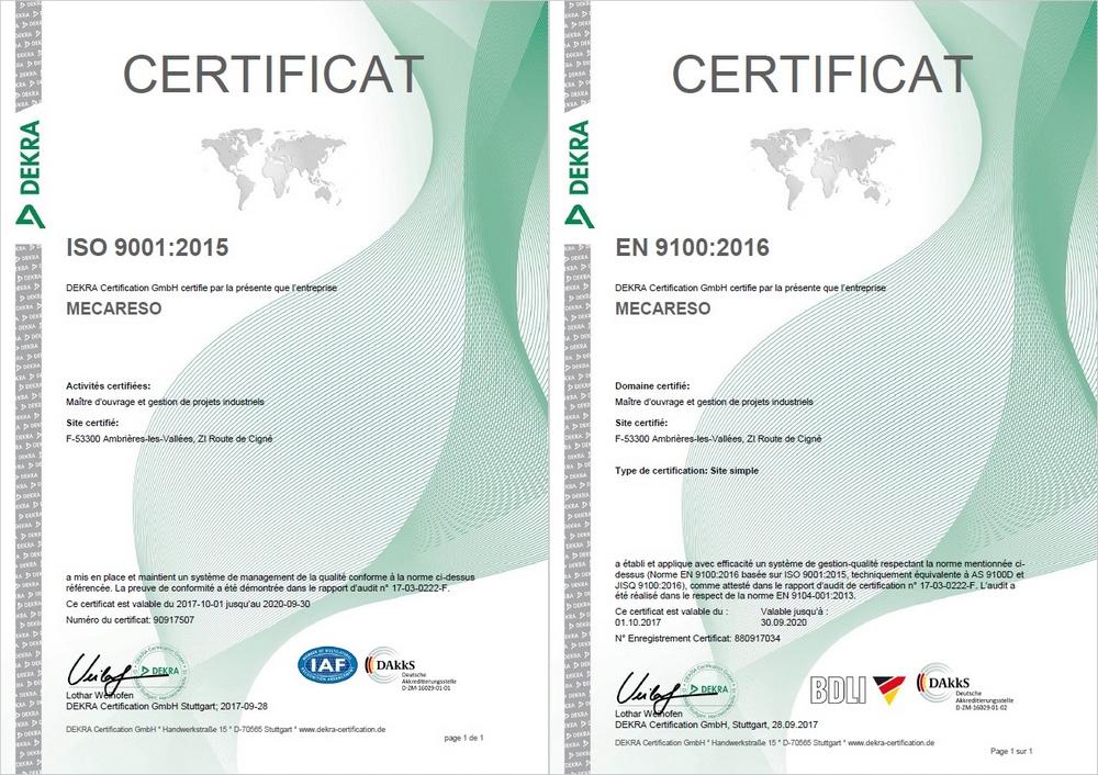 Image des deux certificats ISO9001 et EN9100